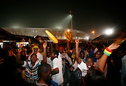 Fans celebrate Ghana,s victory over Morocco with a massive party outside the stadium.  Ghana V Morocco. African Cup of Nations 2008. Ohene Djan Stadium. Accra. Ghana. West Africa..28th January 2008..©Picture Zute Lightfoot.  07939 108077. www.lightfootphoto.co.uk
