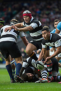 Twickenham, United Kingdom, Saturday, 1st December, 2018, RFU, Rugby, Stadium, England, Hooker, Schalk Brits, supports, scrum half, Leon Fukofuka, as he releases the pass, during the Killik Cup match at Twickenham, Baa-Baas vs Argentina, © Peter Spurrier