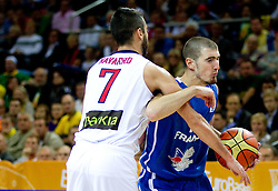 Juan Carlos Navarro of Spain vs Nando de Colo of France during final basketball game between National basketball teams of Spain and France at FIBA Europe Eurobasket Lithuania 2011, on September 18, 2011, in Arena Zalgirio, Kaunas, Lithuania. (Photo by Vid Ponikvar / Sportida)