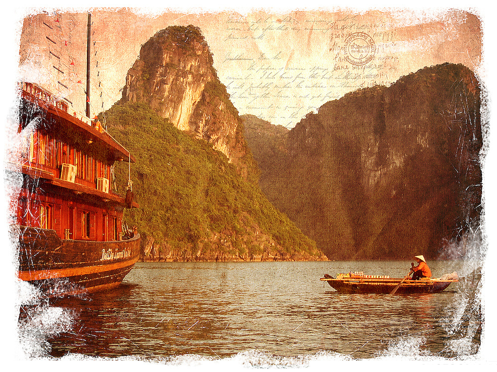 Ha long Bay, Vietnam - Forgotten Postcard digital art collage