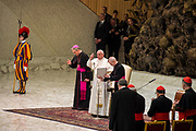 Pope Francis blessing the faithfuls at the end of his weekly general audience at the Paul VI hall on February 07, 2018 at the Vatican.