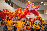The Golden Dragon Dance Team performs during the dedication and ribbon cutting for the Mandarin Immersion Magnet School, October 24, 2016.