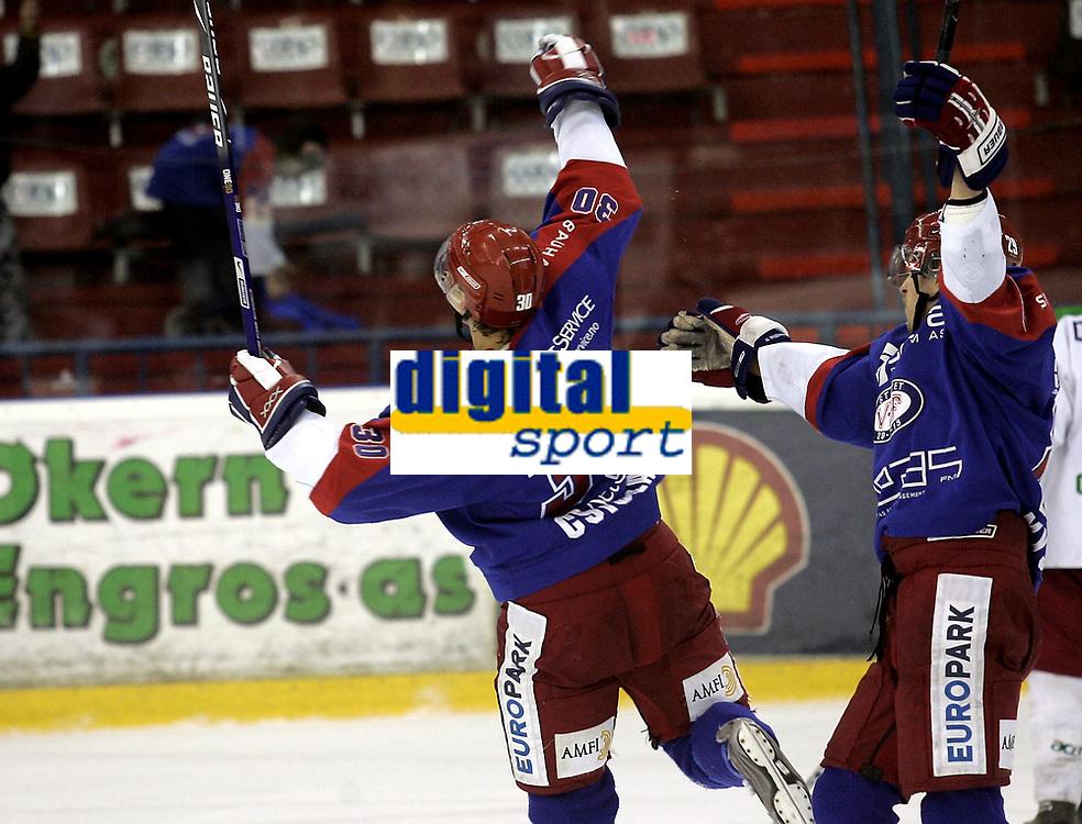Ishockey<br /> GET-Ligaen<br /> 03.01.08<br /> Jordal Amfi<br /> V&aring;lerenga VIF - Frisk Asker Tigers<br /> Brede Csiszar jubler for seiersm&aring;let<br /> Foto - Kasper Wikestad