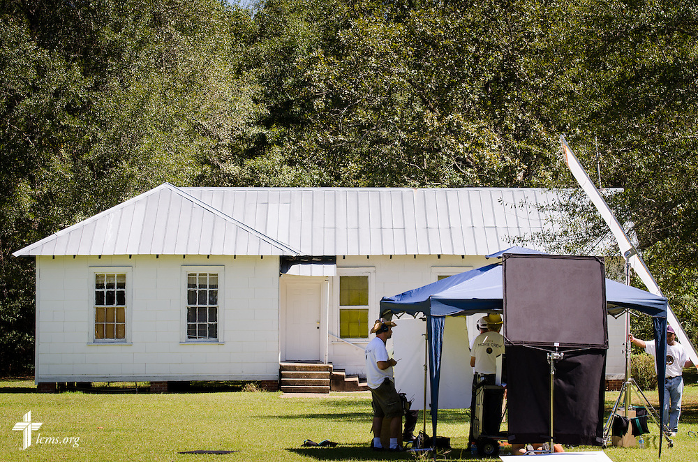 Film crew members setup for a scene during filming of 'The First Rosa' documentary at Hope Lutheran Church on Wednesday, Sept. 24, 2014, near Selma, Ala. LCMS Communications/Erik M. Lunsford