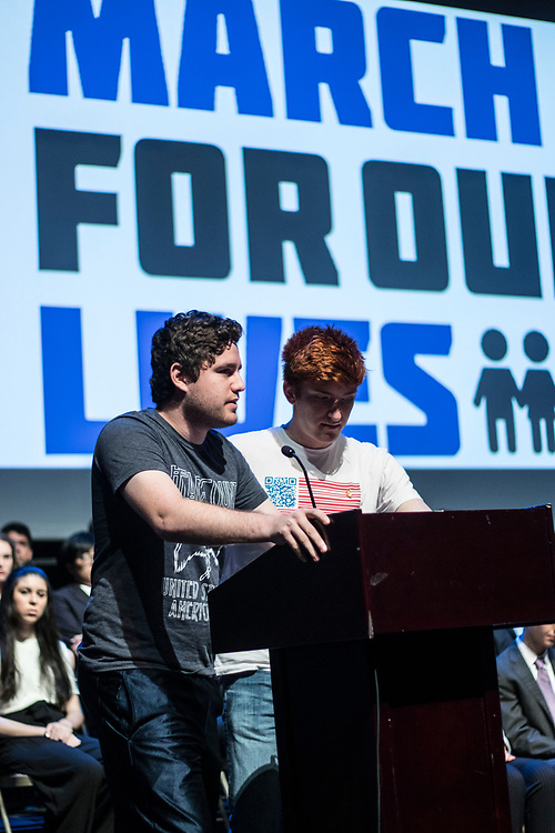 Charles Mirsky and Ryan Deitsch speaking in the PANAMUN XXVI Opening Ceremony