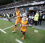 Michael Dawson of Hull City leads his team onto the field before the Sky Bet Championship Playoff Semi Final First Leg at the iPro Stadium, Derby<br /> Picture by Russell Hart/Focus Images Ltd 07791 688 420<br /> 14/05/2016