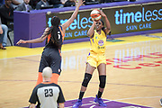 Los Angeles Sparks forward Chiney Ogwumike (13) shoots the ball as Connecticut Sun forward Jonquel Jones (35) attempts to block during a WNBA basketball game, Friday, May 31, 2019, in Los Angeles.The Sparks defeated the Sun 77-70.  (Dylan Stewart/Image of Sport)
