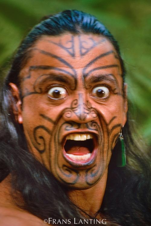 Maori man in kiwi cloak, Rotorua, New Zealand