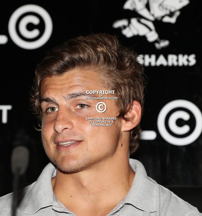 Patrick Lambie during the Cell C Sharks press conference  during at Growthpoint Kings Park in Durban, South Africa. 11th May 2017(Photo by Steve Haag)<br /> <br /> images for social media must have consent from Steve Haag