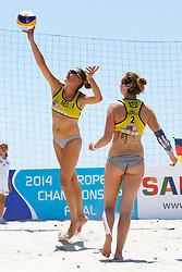20140604 ITA: EK Beachvolleybal, Cagliari<br /> Ilke Meertens, Michelle Stiekema<br /> ©2014-FotoHoogendoorn.nl / Pim Waslander