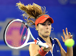 WUHAN, Sept. 28, 2017 Alize Cornet of France returns the ball during the singles quarterfinal match against Maria Sakkari of Greece at 2017 WTA Wuhan Open in Wuhan, capital of central China's Hubei Province, on Sept. 28, 2017. Alize Cornet lost 0-2.  wll) (Credit Image: © Cheng Min/Xinhua via ZUMA Wire)
