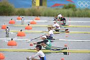 Eton Dorney, Windsor, Great Britain,..2012 London Olympic Regatta, Dorney Lake. Eton Rowing Centre, Berkshire[ Rowing]...Men's Single scull Start GER M1X, GBR M1X AZE M1X.   Dorney Lake. 11:11:04  Tuesday  11:11:04   [Mandatory Credit: Peter Spurrier/Intersport Images].