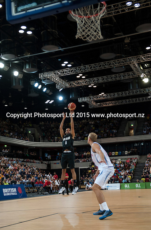 25.07.2015. London England. Basketball test match. Great Britain versus New Zealand.  Tall Blacks Guard Everard Bartlett [#5] shoots from downtown for 3 points.