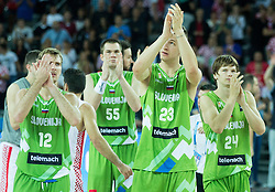 Zoran Dragic of Slovenia, Uros Slokar of Slovenia, Alen Omic of Slovenia, Jaka Klobucar of Slovenia after the basketball match between Croatia and Slovenia at Day 1 in Group C of FIBA Europe Eurobasket 2015, on September 5, 2015, in Arena Zagreb, Croatia. Photo by Vid Ponikvar / Sportida