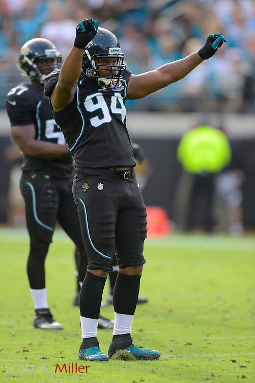 Jacksonville Jaguars defensive end Jeremy Mincey (94) during an NFL game against the New York Jets at EverBank Field on Dec 9, 2012 in Jacksonville, Florida. The Jets won 17-10...©2012 Scott A. Miller..