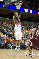 UVA's Lyndra Littles (1) fights for a rebound against BC.  The Cavaliers defeated the Eagles 65-63 in overtime at the John Paul Jones Arena in Charlottesville, VA on January 14, 2007.