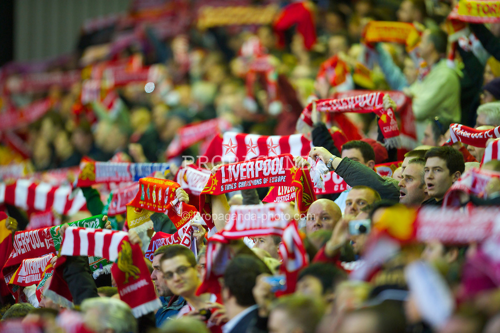 LIVERPOOL, ENGLAND - Thursday, April 8, 2010: Liverpool supporters before the UEFA Europa League Quarter-Final 2nd Leg match against Sport Lisboa e Benfica at Anfield. (Photo by: David Rawcliffe/Propaganda)