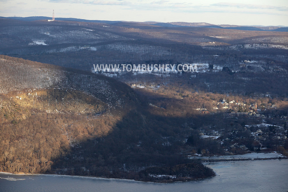 Cornwall, New York - A view of the Hudson Highlands on the east side of the Hudson River from Butter Hill in Storm King State Park on Feb. 20, 2010. The abandoned quarry on Mount Taurus is at left and the village of Cold Spring is at right.