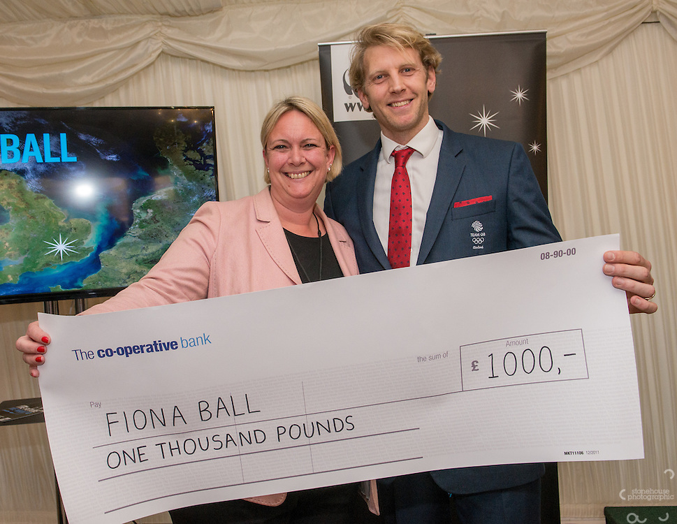 Andrew Triggs Hodge OBE presenting Hero Award for  Workplace (winner) Fiona Ball during the WWF UK Earth Hour 10th Anniversary Parliamentary Reception, Terrace Pavilion, Palace of Westminster. 28th Feb. 2017