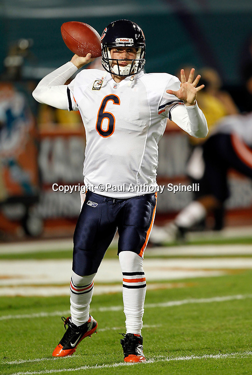 Chicago Bears quarterback Jay Cutler (6) throws a pregame pass during the NFL week 11 football game against the Miami Dolphins on Thursday, November 18, 2010 in Miami Gardens, Florida. The Bears won the game 16-0. (©Paul Anthony Spinelli)