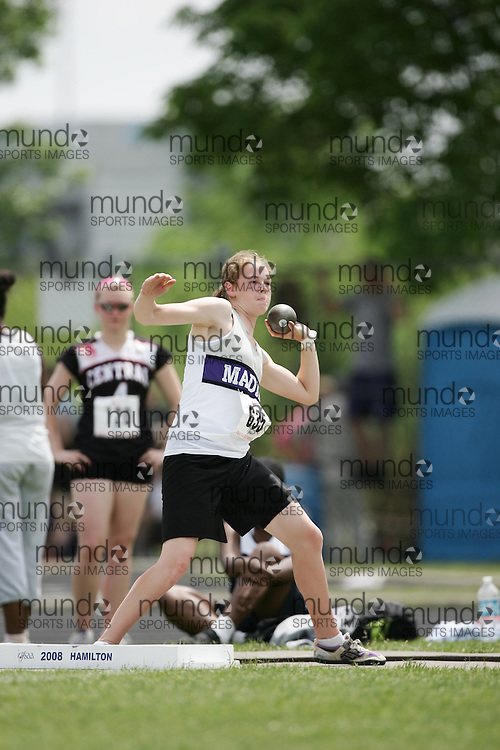 London, Ontario ---07/06/08--- Jodie Eadie of F. E. Madill in Wingham competes in the shot put at the 2008 OFSAA Track and Field meet in Hamilton, Ontario..GEOFF ROBINS