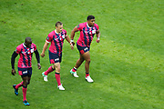 Djibril Camara (Stade Francais), Jules Plisson (Stade Francais), Jonathan DANTY (Stade Francais) after it try scored during the French Championship Top 14 Rugby Union match between Stade Francais Paris and Racing Metro 92 on April 30, 2017 at Jean Bouin stadium in Paris, France - Photo Stephane Allaman / ProSportsImages / DPPI