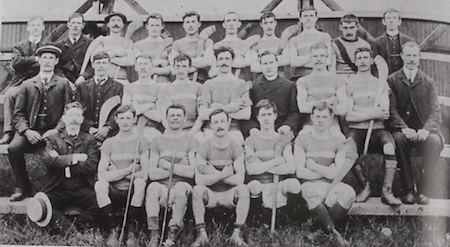 "Tipperary (Thurles)- All Ireland Hurling  Champions 1908. Back Row: M Mulchaire, M Ryan, Jim O'Brien ('Hawk'), M O'Dwyer, Paddy Burke, Tim Gleeson, Martin O'Brien, Tom Kerwick, Jimmy Burke, J M Kennedy. Middle Row: Jer Hayes, J Kavanagh, Pat Fitzgerald, Jack Mockler, T Semple (capt), Rev M K Ryan, Jn FItzgerald, T Kenna(""Gaffer""), Mikey Maher. Front Row: Denis O'Keeffe, P Brolan, Jack Mooney, H Shelly, J McLoughney, A Carew."