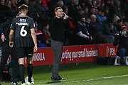 Salford City manager manager Graham Alexander gestures during the EFL Sky Bet League 2 match between Salford City and Northampton Town at the Peninsula Stadium, Salford, United Kingdom on 11 January 2020.