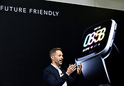 Jonah Becker, vice president of design, unveils Fitbit's second smartwatch, Fitbit Versa, and first-ever device for kids, Fitbit Ace, along with the Fitbit family account and female health tracking at its launch event in New York, Monday, March 12, 2018. The newest devices and features from Fitbit support the company's vision of making the world healthier, while reaching more people in unique ways to continue to help them achieve their health and fitness goals. (Photo by Diane Bondareff/AP Images for Fitbit)