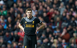 BIRMINGHAM, ENGLAND - Easter Sunday, March 31, 2013: Liverpool's captain Steven Gerrard looks dejected as Aston Villa score the opening goal during the Premiership match at Villa Park. (Pic by David Rawcliffe/Propaganda)