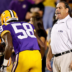 November 13, 2010; Baton Rouge, LA, USA; LSU Tigers defensive coordinator John Chavis on the field during warm ups prior to kickoff of a game against the Louisiana Monroe Warhawks at Tiger Stadium.  Mandatory Credit: Derick E. Hingle