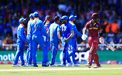 West Indies' Shai Hope leaves the field after being dismissed by India's Mohammed Shami during the ICC Cricket World Cup group stage match at Emirates Old Trafford, Manchester.