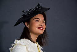 LIVERPOOL, ENGLAND - Thursday, April 6, 2017: Beth Pickthall, 18, waring a hat from Cimono Couture, during The Opening Day on Day One of the Aintree Grand National Festival 2017 at Aintree Racecourse. (Pic by David Rawcliffe/Propaganda)