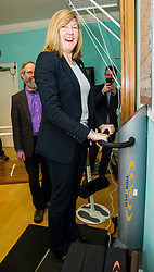 Pictured: Alison Johnstone enjots the Vibrogym which shook her all up.<br /> <br /> Scottish Greens Health and social care spokeswoman Alison Johnstone took the opportunity e to meet staff and visitors at Leuchie House respite centre in North Berwick today.<br /> <br /> Ger Harley | EEm 26 April 2016