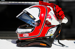 March 11, 2017 - St. Petersburg, Florida, U.S. - DIRK SHADD   |   Times  .The helmet of IndyCar drier Helio Castroneves rests on the wall in front of his pit area before the IndyCar practice session on day two of the Firestone Grand Prix of St. Petersburg Saturday (03/11/17) (Credit Image: © Dirk Shadd/Tampa Bay Times via ZUMA Wire)