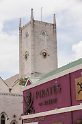 Pirates Museum and Christ Church Cathedral Anglican Church in Nassau , Bahamas.