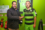 Forest Green Rovers Liam Noble(8) receives his man of the match award from match sponsor Grundon during the EFL Cup match between Forest Green Rovers and Milton Keynes Dons at the New Lawn, Forest Green, United Kingdom on 8 August 2017. Photo by Shane Healey.