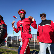 William Penn wide receiver Zachariah Burton (1) walks onto the field  for senior day during a Week 9 DIAA football game between William Penn and Charter School of Wilmington Saturday, Nov. 05, 2016, at William Penn Stadium in New Castle.