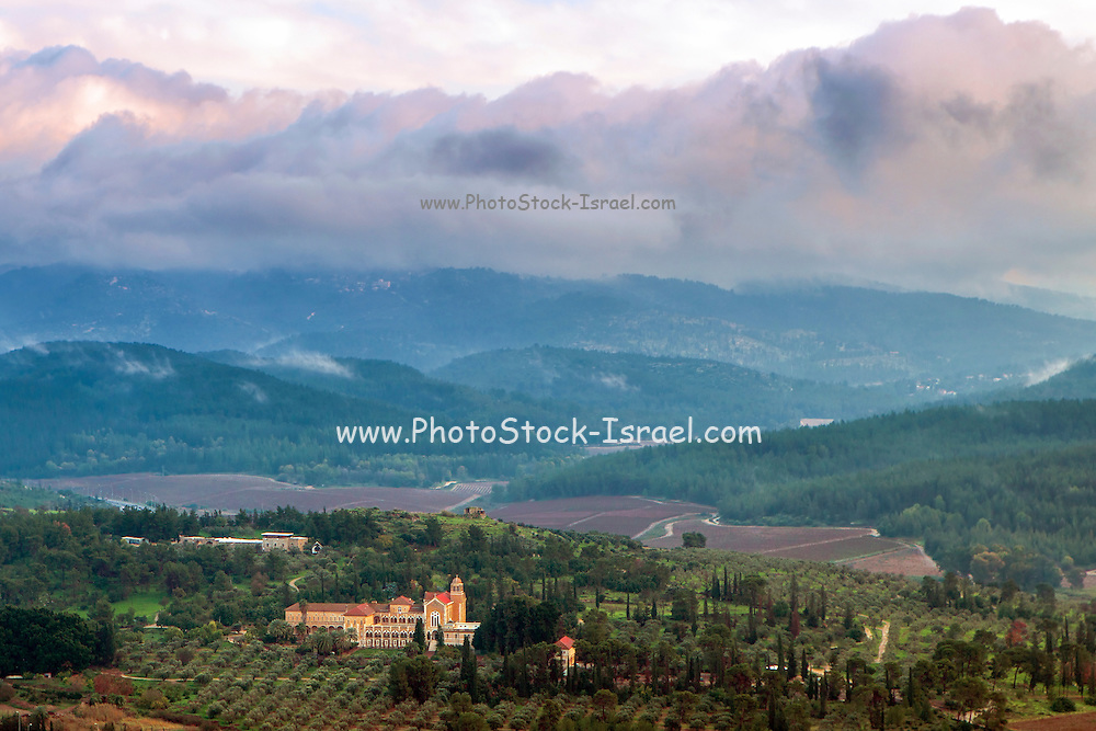 Aerial view of Latron monastery and winery, Israel