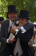 Lord Charles Spencer-Churchill and Viscount Astor, Ascot, Tuesday 15 June 2004. ONE TIME USE ONLY - DO NOT ARCHIVE  © Copyright Photograph by Dafydd Jones 66 Stockwell Park Rd. London SW9 0DA Tel 020 7733 0108 www.dafjones.com