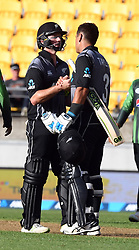 New Zealand's Colin Munro, left and Ross Taylor after their 7 wicket win over Pakistan in the first T20 International Cricket match, Westpac Stadium, Wellington, New Zealand, Monday, January 22, 2018