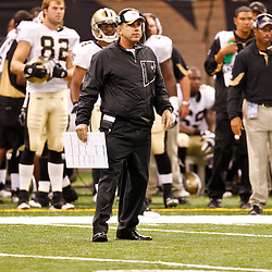 August 27, 2010; New Orleans, LA, USA; New Orleans Saints head coach Sean Payton on the field during the second quarter of a preseason game against the San Diego Chargers at the Louisiana Superdome. Mandatory Credit: Derick E. Hingle