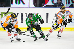 06.01.2015, Hala Tivoli, Ljubljana, SLO, EBEL, HDD Telemach Olimpija vs Moser Medical Graz 99ers, 36. Runde, in picture Rok Leber (HDD Telemach Olimpija, #18) vs Anders Bastiansen (Moser Medical Graz 99ers, #11) and Stephen Werner (Moser Medical Graz 99ers, #27) during the Erste Bank Icehockey League 36. Round between HDD Telemach Olimpija and Moser Medical Graz 99ers at the Hala Tivoli, Ljubljana, Slovenia on 2015/01/06. Photo by Matic Klansek Velej / Sportida