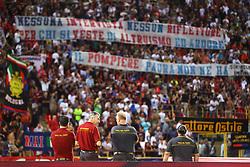 Foto Filippo Rubin/<br /> 12 agosto 2018 Torino, Italia<br /> sport calcio<br /> Bologna vs Padova - Coppa Italia 2018/2019 Terzo turno - stadio Renato Dall'Ara.<br /> Nella foto: STRISCIONI DEI TIFOSI DEL BOLOGNA PER I VIGILI DEL FUOCO<br /> <br /> Photo Filippo Rubin/<br /> august 12, 2018 Turin, Italy<br /> sport soccer<br /> Bologna vs Padova - Italian Football Cup 2018/2019 Third Round - Renato Dall'Ara Stadium<br /> In the pic: