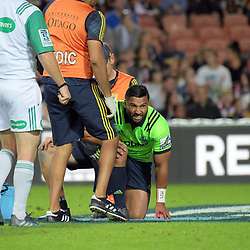 Lima Sopoaga goes down injured during the Super Rugby match between the Chiefs and Highlanders at FMG Stadium in Hamilton, New Zealand on Friday, 30 March 2018. Photo: Dave Lintott / lintottphoto.co.nz
