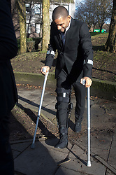 © Licensed to London News Pictures. 05/01/2018. Guildford, UK. Crystal Palace football club captain Jason Puncheon leaves Guildford Magistrates Court. He is charged with various offences including  common assault  and possession of an offensive weapon after an altercation outside a nightclub in Reigate in the early hours of December 17th, 2017. Photo credit: Peter Macdiarmid/LNP