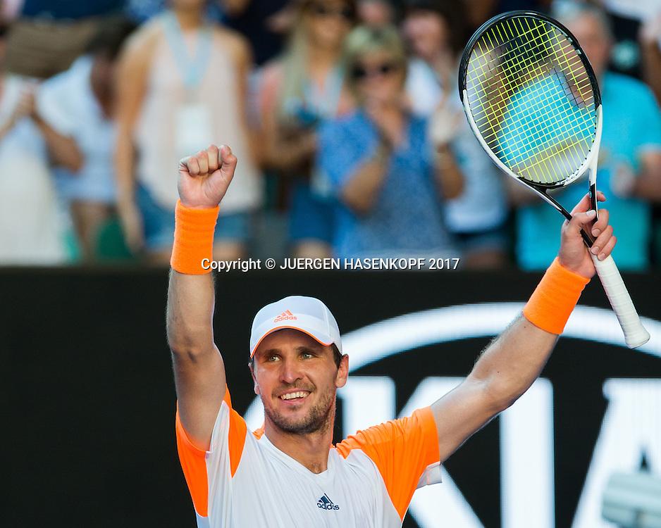 MISCHA ZVEREV (GER)  macht die Faust und jubelt,Jubel,Emotion,<br /> <br /> <br /> Australian Open 2017 -  Melbourne  Park - Melbourne - Victoria - Australia  - 22/01/2017.