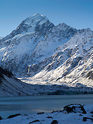 Hooker Lake with Aoraki as a backdrop; Aoraki/Mt. Cook National Park, New Zealand.