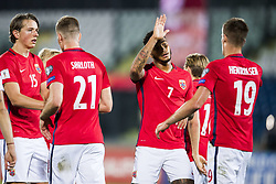 October 5, 2017 - San Marino, SAN MARINO - 171005 Sander Berge, Alexander SÂ¿rloth, Joshua King and Markus Henriksen of Norway celebrate a goal during the FIFA World Cup Qualifier match between San Marino and Norway on October 5, 2017 in San Marino. .Photo: Fredrik Varfjell / BILDBYRN / kod FV / 150027 (Credit Image: © Fredrik Varfjell/Bildbyran via ZUMA Wire)
