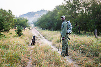 Counter poaching patrol with tracker dog, Save Valley Conservancy, Zimbabwe